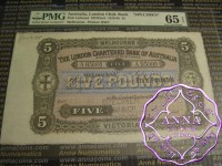 Australia 1.7.1885 London Chartered Bank of Australia Specimen 5 Pounds PMG65 EPQ
