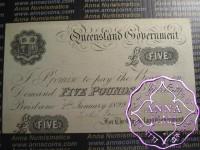 Australia Queensland Government, five pounds, Brisbane, 2nd Jan 1899