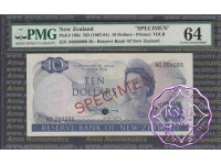 New Zealand 1967 $10 R.N.Fleming Specimen PMG 64