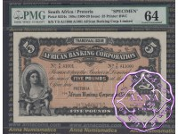 South Africa 189x Five Pounds Specimen PMG 64