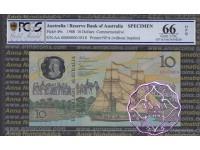 Australia 1988 Specimen AA$10 PCGS 66 OPQ