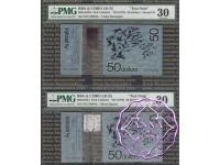 Australia 1975 Pair of $50 CSIRO Polymer Test Note, PMG30