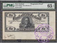 Bank of New Zealand  20/12/1920 Printer's Proof One Pound PMG 65 EPQ