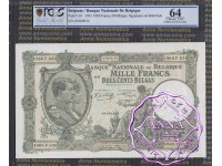 Belgium 1943 1000 Francs-200 Belgas PCGS 64