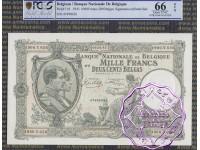 Belgium 1943 1000 Francs-200 Belgas PCGS 66 OPQ