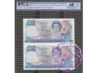 New Zealand 1990 D.T.Brash AAA$10 Uncut of 2 PCGS 68 OPQ
