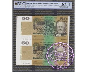 1994 $50 Fraser/Evans Uncut of 2 PCGS 67 OPQ