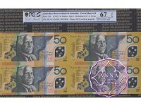1999 $50 U13 Macfarlane/Evans Uncut of 4 Red PCGS 67 OPQ