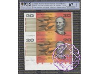 1994 $20 Fraser/Evans Uncut of 2 PCGS 67 OPQ