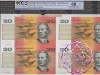 1994 $20 U7 Fraser/Cole Uncut of 4 Red Serials PCGS 68 OPQ