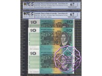 1991 $10 U7 Fraser/Cole Uncut of 2 PCGS 67 OPQ