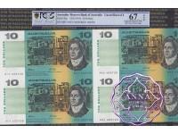1991 $10 U9 Fraser/Cole Uncut of 4 PCGS 67 OPQ