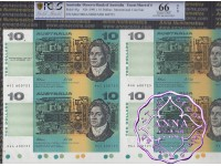 1991 $10 U10 Sydney Fraser/Cole Uncut of 4 PCGS 66 OPQ
