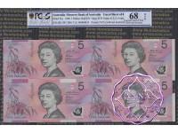 1996 $5 U14 Fraser/Evans Uncut of 4 Red PCGS 68 OPQ