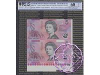 1996 $5 U18 Fraser/Evans Uncut of 2 PCGS 68 OPQ