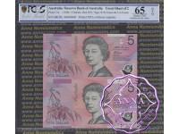 1996 $5 U17 Fraser/Evans Uncut of 2 Red PCGS 65 OPQ