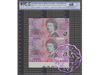1996 $5 U17 Fraser/Evans Uncut of 2 Red PCGS 68 OPQ