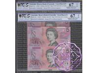 1996 $5 U17 Fraser/Evans Uncut of 2 Red PCGS 67 OPQ
