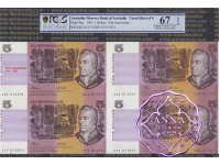 1992 $5 U11 Fraser/Cole Red Opt Uncut of 4 PCGS 67 OPQ