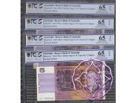 1990 $5 R212 Fraser/Higgins Pair X 2 UNC 999935 &36 PCGS 65 OPQ
