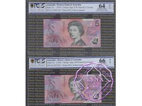 1995 $5 AA95 Fraser/Evans Black & Red Opt PCGS 64-66 OPQ