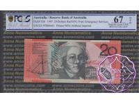 1999 $20 Macfarlane/Evans Red Opt PCGS 67 OPQ