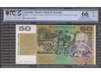 1993 $50 Fraser/Evans Red HF PCGS 66 OPQ
