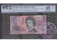 1996 $5 R218aF Macfarlane/Evans PCGS 65 OPQ