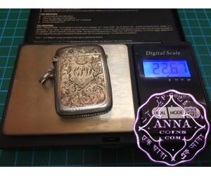 Birmingham Hallmarked 1901 Antique Sterling Silver Vesta Case Maker B & C
