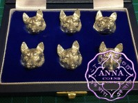Set of 6 sterling Sliver Novelty Fox Head Card Holders With Case