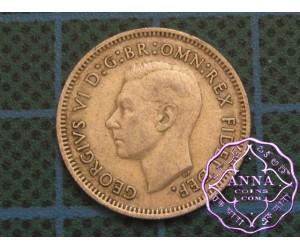 Australia George VI 92.5 Silver Shilling Average Circulated Condition